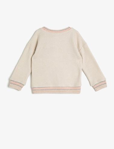 Koton Kids İşlemeli Sweatshirt Ekru